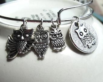 Owl Charms Expandable Owl Bangle Owl Charm Bracelet