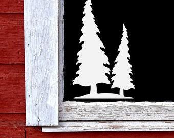 Pine Tree window decal, Winter decoration, woodland holiday decor,  rustic Christmas window decal