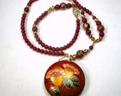 Red Cloisonne Enameled Pendant on Red and Gold Beaded Necklace, 1980s, OOAK  Rachelle Starr