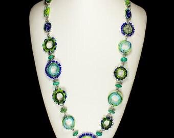Kaleidoscope Necklace, Handmade Glass Jewelry