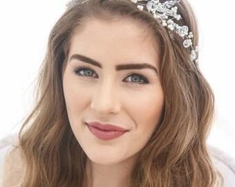 Crystal Wedding Tiara with Pearls Vintage Glass Crystal Beads and Pearl Bridal Crown Beaded Wedding Headpiece, Crystal Tiara
