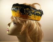 Yellow Black Feather Headband/Pillbox Vintage Ladies Hat, Bright & Bold, Downton, Flapper, Hippy BoHo Look