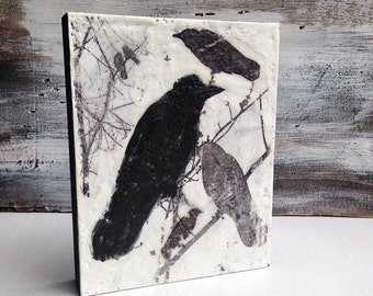 Blackbirds Original Encaustic Painting Black & White Modern Urban Bird Crow