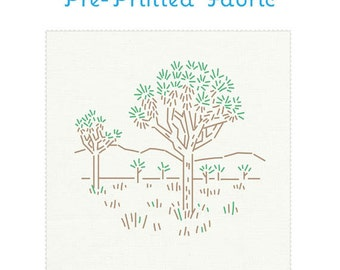 JOSHUA TREE pre-printed embroidery pattern, embroidery fabric, national parks embroidery pattern, hand embroidery design by StudioMME