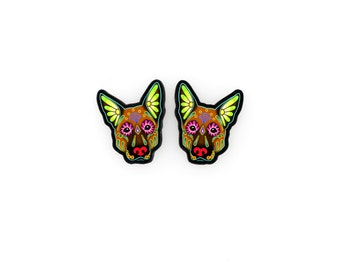 German Shepherd Earrings in Brown - Day of the Dead Sugar Skull Dog Post Earrings