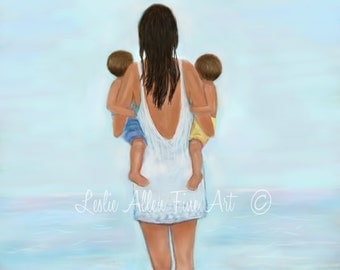 "Mother Two Boys Sons Art Print Twins Art Beach Decor Ocean Fun Family Children Kids Wall Art  ""My Little Beach Boys"" Leslie Allen Fine Art"