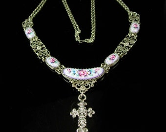 Religious Russian Finift necklace vintage Cross FABULOUS PAINTED panels Filigree silver double chain