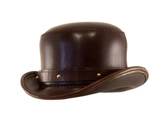 STEAMPUNK LEATHER HAT Bowler top hat in brown leather