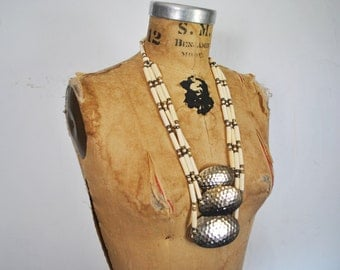 Hammered Metal and Bone Beaded Necklace