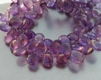 Lavender Purple Amethyst Faceted Pear Drop Briolette 12  Beads set