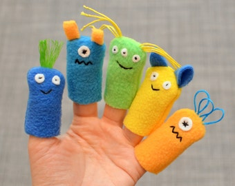 Monster Finger Puppets, in Blue, Green, & Yellow Neutrals (5-pack)