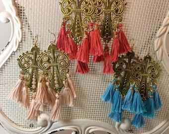 Tassel earrings dangle handmade gold brass