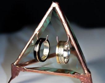 Wedding Engagement Ring Double Hook Pyramid Jewelry Display Case -Original Design by Philip Crow - Rustic -