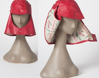 Vintage Rain Hat, 1950s Red Vinyl Children's Rain Cap, Brim and Neck Cover, Woman's Rain Hat, Accessories, Hats & Caps
