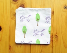 happy cat handkerchief. cat lover japanese tenugui hand towel. pure cotton baby wipe. hand stamped body cloth.  birthday holiday gifts