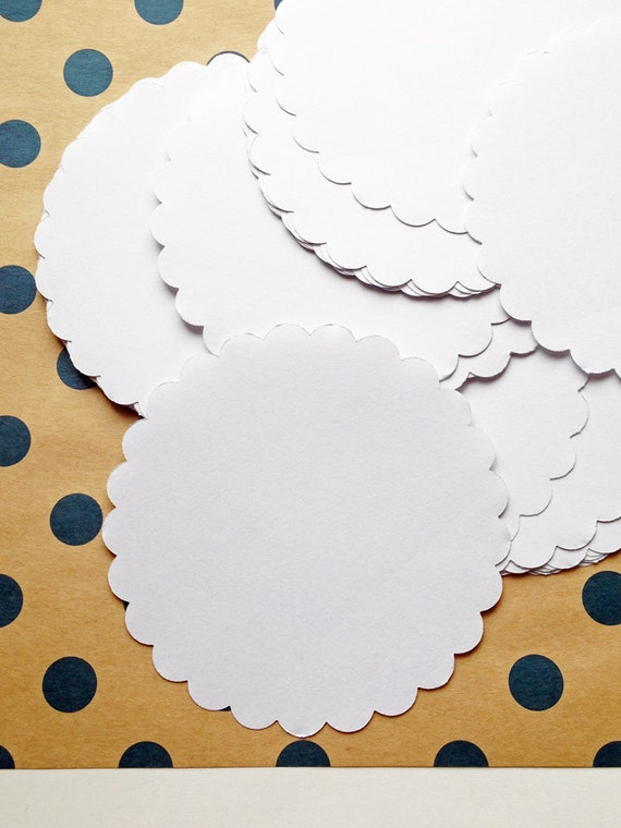 Scalloped Circle Blank Stickers Plain Label Sticker