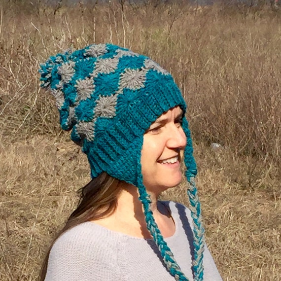 Crochet Womens Hat With Ear Flaps Pattern : Crochet PATTERN Hat Beanie Slouch Ear Flaps by ...