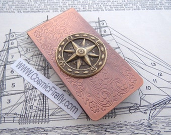 Compass Money Clip Steampunk Money Clip Copper Money Clip North South East West Men's Gifts Nautical Gifts For Men Dad's Gifts NEW!