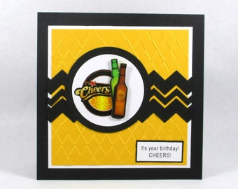 Mens birthday card, birthday cards for men, beer, cheers, embossed card, happy birthday, father, dad, husband, boyfriend, son