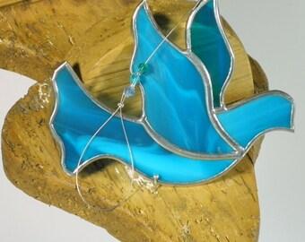 Aqua blue Stained glass Dove of Peace suncatcher christmas ornament window decoration