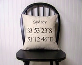 free shipping -coordinates pillow - personalized - black - custom - gift idea - hostess gift - decoration - honeymoon - GPS - anniversary