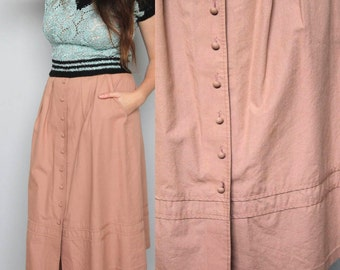 tokyo tourist -- vintage 80s pleat detail button-up skirt S/M
