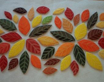SALE PRICE - M49a - Huge 49 pc  FALL Leaves Set - Ceramic Mosaic Tiles
