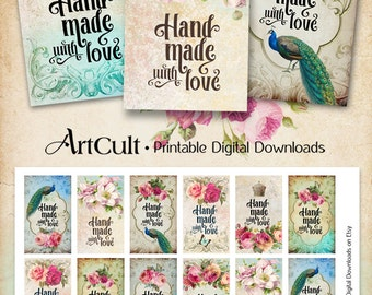 "Printable download ""HANDMADE WITH LOVE"" business labels for your shop digital collage sheet vintage style shabby chic tags ArtCult designes"