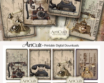 Digital Collage Sheet OLD PHONES Printable download, 2.5x3.5 inch size vintage style images for gift tags scrapbooking, greeting cards
