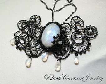 Rainbow Moonstone Cabochon and Black Wire Necklace