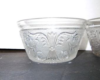 4 Vintage Duncan Miller Sandwich Glass Finger Bowls Nut Bowl Berry Bowls