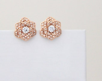 Rose Gold stud earrings, Crystal stud earrings, Bridal earrings, Flower stud earrings, Rose Gold earrings, Wedding jewelry Bridesmaid, BELLA