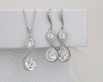 Bridal necklace, Bridesmaid jewelry, Bridal earrings, Wedding jewelry, Crystal earrings, Pendant necklace, Wedding necklace, Jewelry set