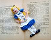 alice in wonderland crochet bookmark, reading character bookmark