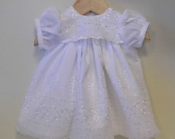 Short Lined eyelet Christening, Baptism, Blessing dress