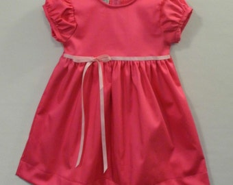 Hot pink dot on satin twill little girls dress