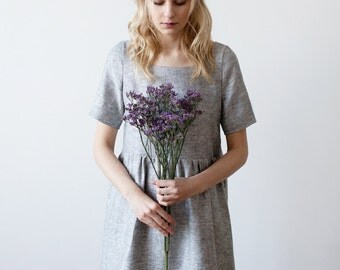 Grey Linen dress Loose fit s m shabby chic