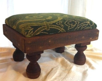 Green Velvet Brocade Handmade Foot Stool by Barneche/Stephanie Barnes