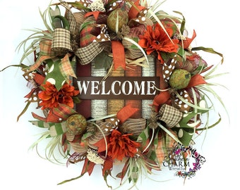 Fall Welcome Wreath, Thanksgiving Wreath, Deco Mesh Fall Wreaths, Autumn Door Wreath, Fall Wreath for Door Outdoor Fall Wreath Fall Wreathes