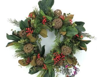 Square Magnolia Leaf Wreath, Silk Flower Christmas Wreath, Natural Christmas Wreath, Natural Winter Wreath, Holiday Wreath for Door