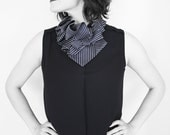 Aster Necktie Ruffle Collar - Black, White Candy Stripe Ruffle Snap on Collar