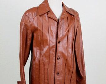 Men's Leather Jacket, Disco Jacket, Brown Leather, Hipster Jacket,  70s Jacket, Disco Jacket, 1970s Jackets, McGregor Sportswear, On Sale