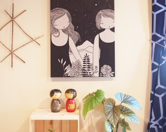 Sister Sister - original acrylic ink painting on raw natural linen