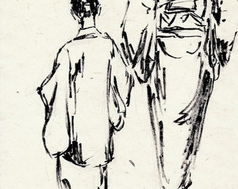 original ink drawing on handmade paper of Japanese lady and child in kimono