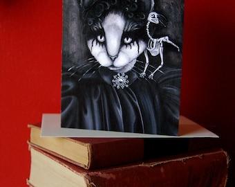Cat and Raven 5x7 Blank Greeting Card, Goth Victorian Portrait Bird Skeleton White Cat Art