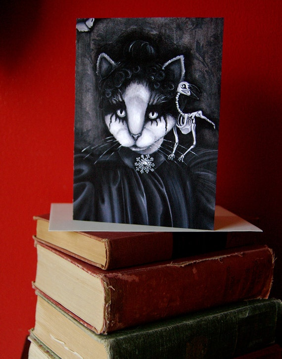 Cat and Raven 5x7 Blank Greeting Card, Goth Victorian Portrait Bird Skeleton White Cat Art