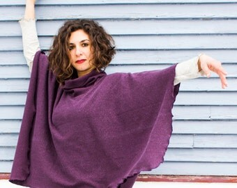 Hemp Cowl Neck Poncho - Hemp and Organic Cotton Knit - Made to Order - Choose Your Color