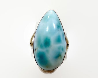 Larimar Ring, Blue Ring, Sterling Silver, Statement Ring, Vintage Ring, Dolphin Stone. Size 7 1/4, Blue Stone Ring, Big Stone, Large Boho