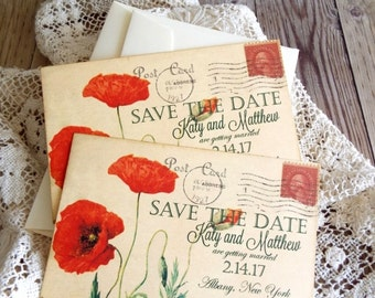 Vintage Postcard with Orange Poppies Wedding Save the Date Cards Handmade by avintageobsession on etsy