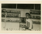 1940s PHARMACY Guy Sticks Out Tongue - snapshot 808-A